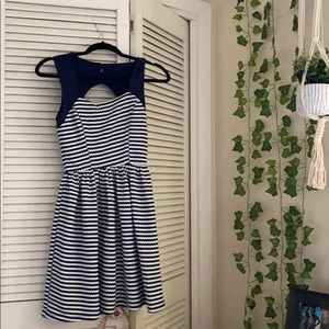 Altar'd State Navy and White Pinstripe Dress